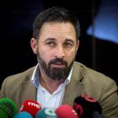 El líder de Vox, Santiago Abascal, en una rueda de prensa