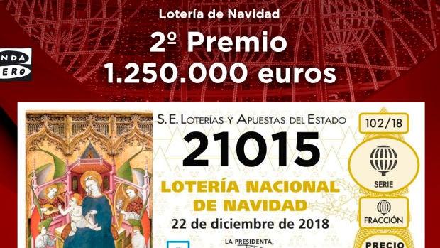 El 21015, segundo premio de la Lotería de Navidad