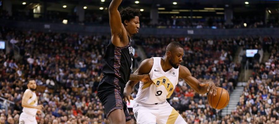 Serge Ibaka, en acción ante los Nets
