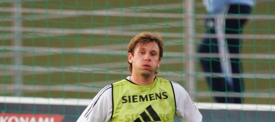Cassano, durante un entrenamiento con el Real Madrid
