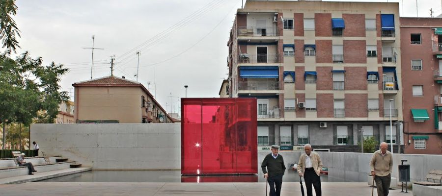 Zona de la Plaza de Barcelona del barrio de Carrús de Elche