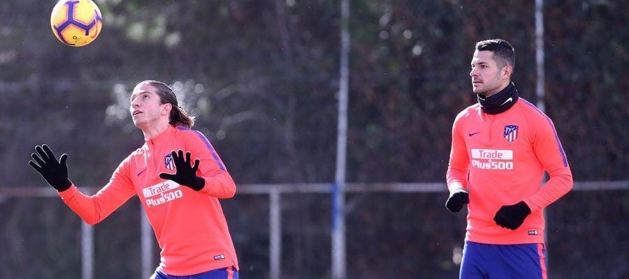 Filipe y Vitolo, en un entrenamiento