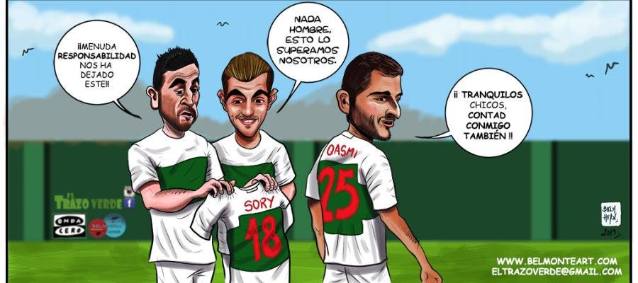 Benja, Carlos Castro y Yacine Qasmi aspiran a coger el relevo de Sory Kaba como referencia ofensiva en las últimas 18 jornadas de liga.