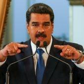 Nicolás Maduro durante una rueda de prensa