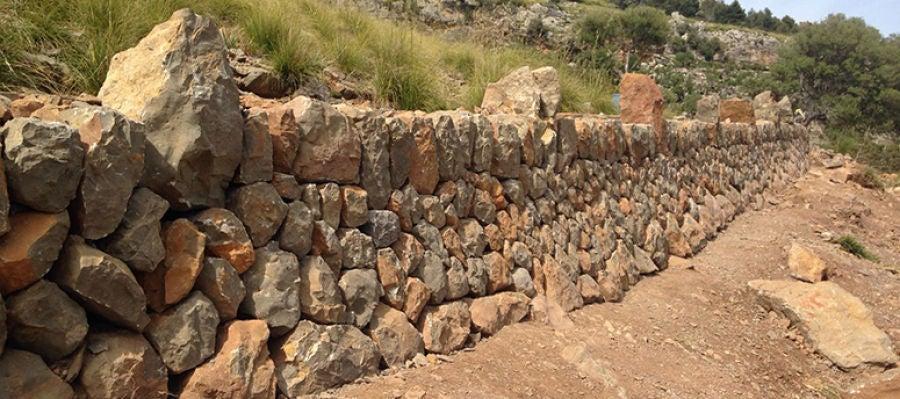 Un gragmento de 'pedra en sec' en la Serra de Tramuntana de Mallorca.