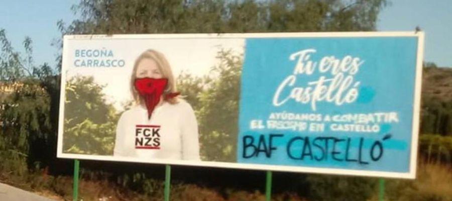 """Pintadas en las vallas de """"Tú eres Castellón"""" del PP."""