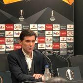 Marcelino en rueda de prensa tras el partido ante el Celtic