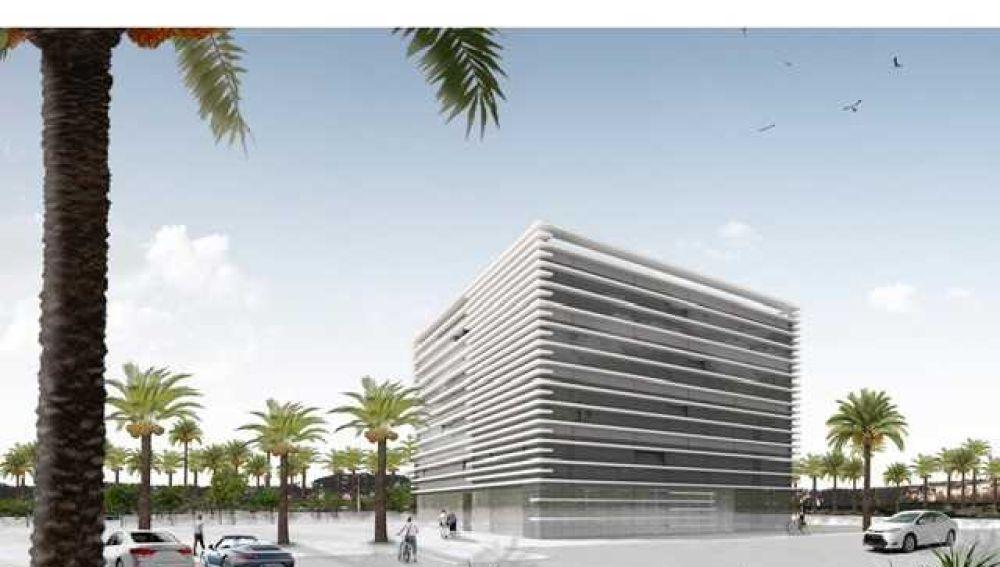 Simulación del edificio proyectado en el Campus Tecnológico de Elche