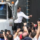 Imagen de Juan Guaidó en la frontera de Venezuela