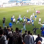 Momento de la agresión en el estadio de San Pablo