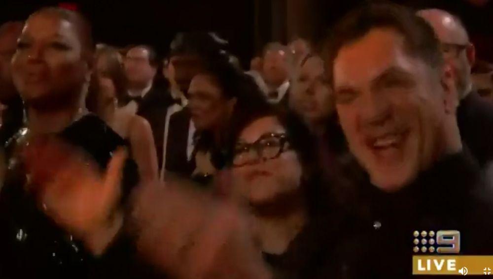 Javier Bardem durante la actuación de Queen en los Oscar 2019