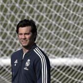 Solari, durante un entrenamiento del Real Madrid