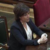 La exvicepresidenta del Gobierno, Soraya Sáenz de Santamaría, durante el juicio del 'procés'