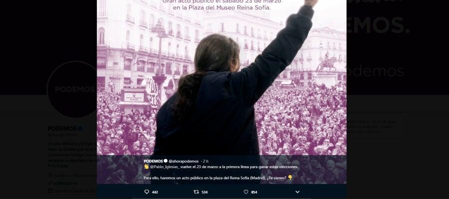 Imagen del tuit borrado de Podemos para anunciar la vuelta de Pablo Iglesias