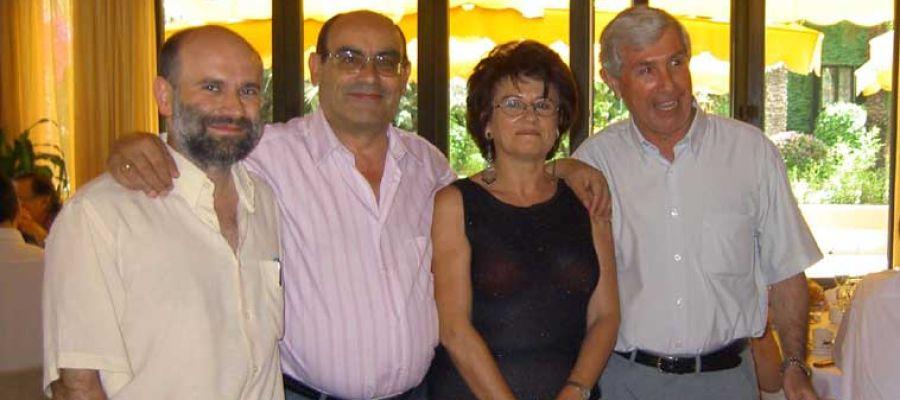 Los profesores de Filosofía Félix Arias, Eduardo Vaquero, Ana Llinares y Francisco Gelardo, en el acto de jubilación de Vaquero en el año 2004.
