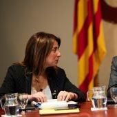 El vicepresidente de la Generalitat y conseller de Economía, Pere Aragonés, junto a la consellera de Presidencia, Meritxell Budó