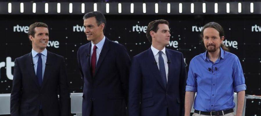 Pablo Casado, Pedro Sánchez, Albert Rivera y Pablo Iglesias en el debate de RTVE