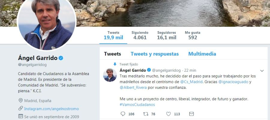 Perfil de Twitter de Ángel Garrido en el que anuncia su fichaje por Ciudadanos