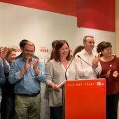 Francina Armengol celebrando la victoria del PSIB en las elecciones generales.