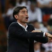 Marcelino, durante el partido contra el Arsenal
