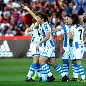 Kiana Palacios celebra su gol contra el Atlético de Madrid