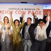 Mestre, Calvo, García-Page, Zamora y Caballero, en el acto de campaña celebrado en Ciudad Real