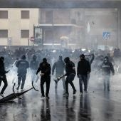 Ultras del Lazio antes de la final de la Copa italiana
