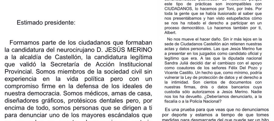 CARTA A ALBERT RIVERA