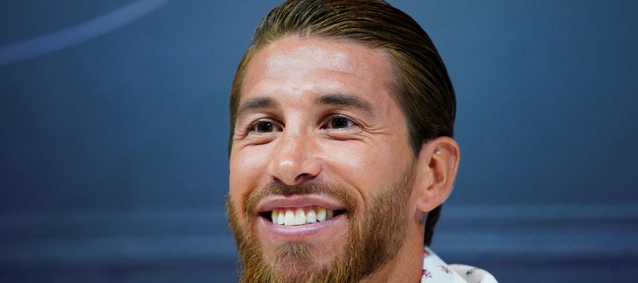 Sergio Ramos, sonriente durante su comparecencia