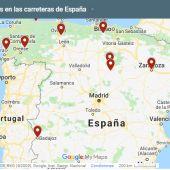 Mapa de los 10 tramos de riesgo más peligrosos de las carreteras españolas