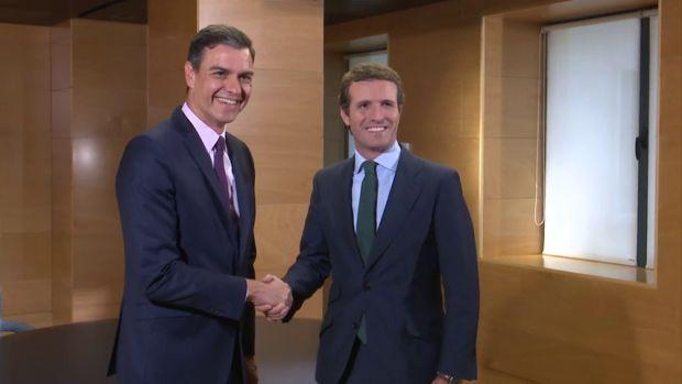 Pedro Sánchez y Pablo Casado se han reunido esta mañana en La Moncloa