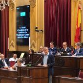 Juan Pedro Yllanes en su intervención en el debate de investidura de Francina Armengol.