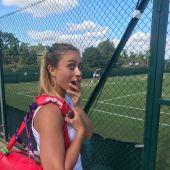 Paula Badosa, en una pista en la que entrena Roger Federer