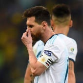 Messi, cabizbajo en un partido de la selección argentina