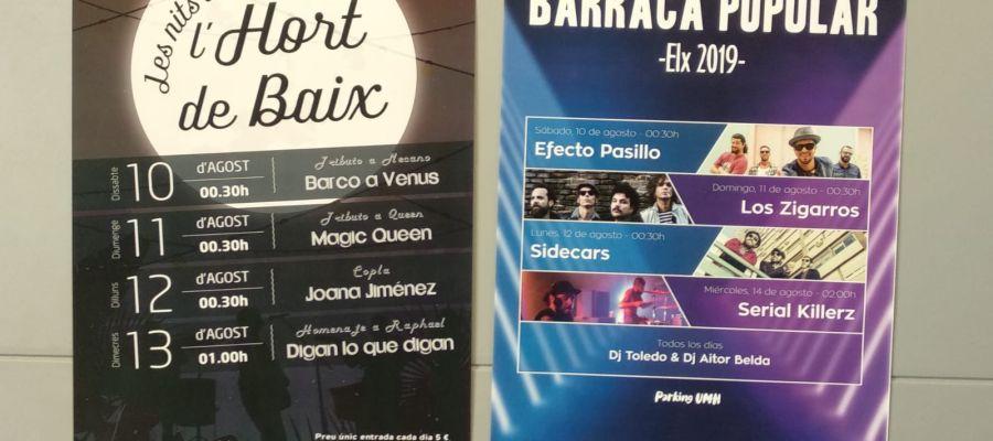Carteles con las actuaciones en la Barraca Municipal y el Hort de Baix