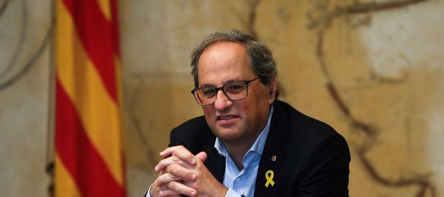 El presidente de la Generalitat, Quim Torra, durante la reunión semanal del gobierno catalán
