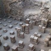 Área de las termas romanas en la que se han encontrado lo que habrían sido taquillas.