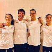 Carla Hurtado, Francisco Amat, Pedro Sánchez y Bárbara Blázquez en Bakú.