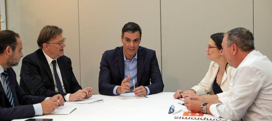 Reunión entre Pedro Sánchez, Mónica Oltra y Joan Baldoví