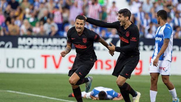 Vitolo celebra el tanto marcado al Leganés