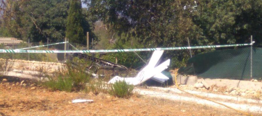 Restos de la avioneta accidentada en Inca