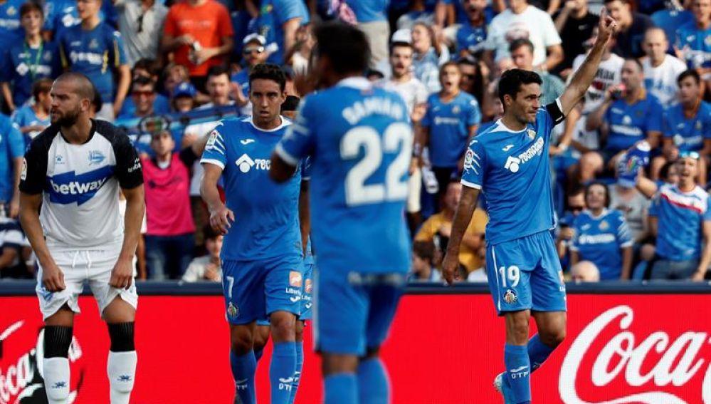 El Getafe celebra el gol de Jorge Molina