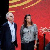 Guirao, con María José Rienda y Jorge Garbajosa antes de la final del Mundial