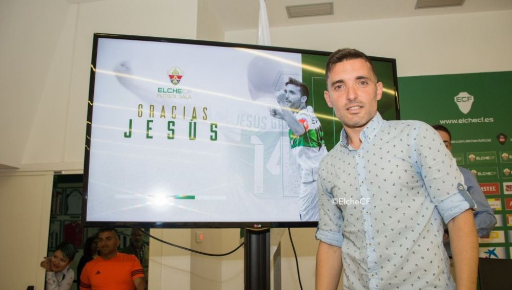 Jesús García, el día de su retirada como jugador del Elche CF Sala.