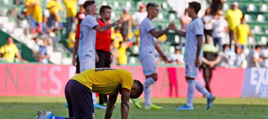 El jugador de Ecuador Darío Aimar se lamenta tras la derrota de su equipo ante Argentina,