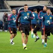 Rodrigo Moreno, en el entrenamiento con la selección española