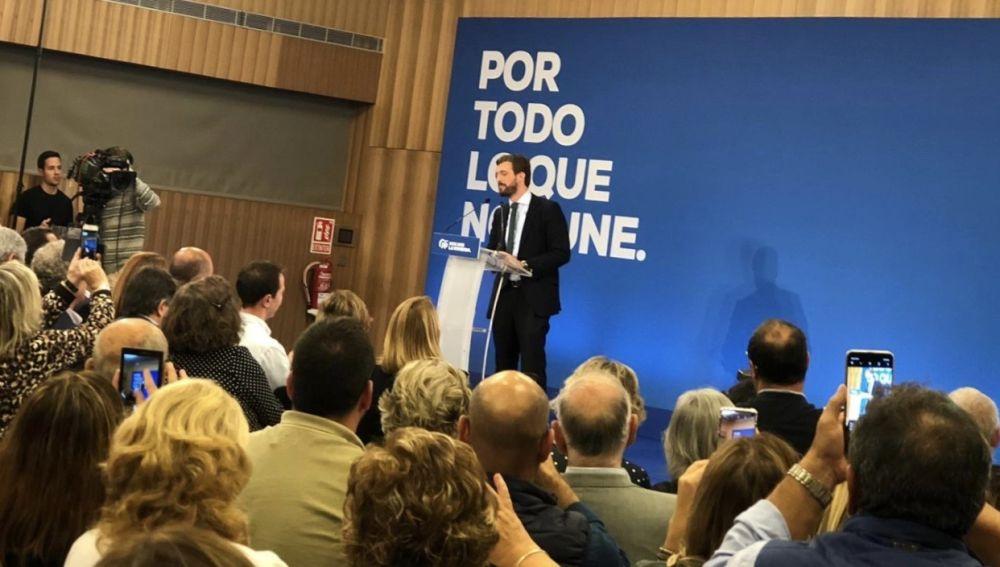 El presidente del PP, Pablo Casado, en un acto electoral de precampaña en Palma.