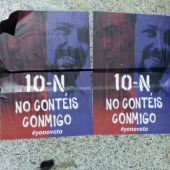 """""""No contéis conmigo. Yo no voto"""", dicen los carteles distribuidos en barrios donde se suele votar a la izquierda."""