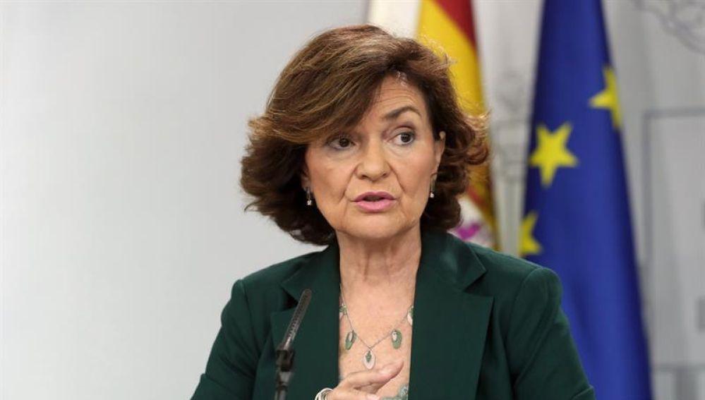 La vicepresidenta del Gobierno en funciones, Carmen Calvo, durante la rueda de prensa posterior al Consejo de Ministros