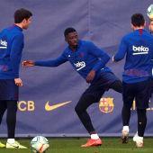 Dembele, en un entrenamiento del Barcelona.